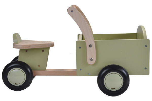 Houten bakfiets little rider retro green